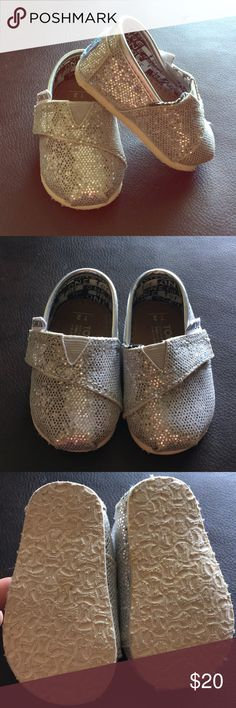 Silver Glitter Tiny Toms Adorable. Just adorable. Excellent condition. Precious with any outfit and every girl needs them. Toms Shoes Moccasins
