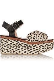 April raffia and leather platform sandals