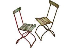 Green German Folding Bistro Chairs, Pair - One Kings Lane