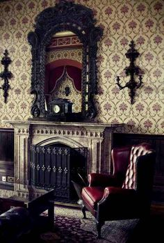 Livingroom ideas... Love the mirror and fireplace!  Dark Victorian Inspired Fireplace and Mantle mirror