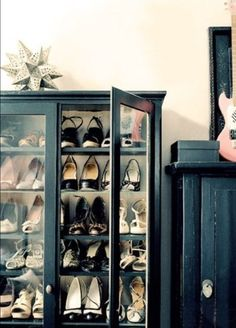 Showy Shoe Showcase! Recycle an old Haberdashery or Glass Cabinet into a Shoe Display Cabinet. | DIY Home Decor Inspirations