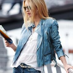 Rock 'n' Roll Style ☆ and now i want a blue leather biker jacket