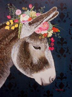 Corona Floral, Spring Painting, Cow Art, Whimsical Art, Animal Paintings, Painting Inspiration, Watercolor Art, Fantasy Art, Art Drawings