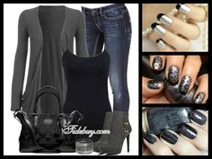 Nail design. Love the outfit too