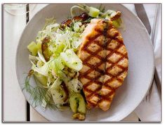 Grilled Salmon with Smashed Cucumber-Date Salad Recipe : Geoffrey Zakarian : Food Network the best thing I ever made Top Recipes, Fish Recipes, Seafood Recipes, Halibut Recipes, Seafood Meals, Seafood Dishes, Clean Recipes, Delicious Recipes, Recipies