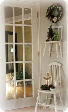Antique chairs repurposed. Such a cute idea. Cottage design.