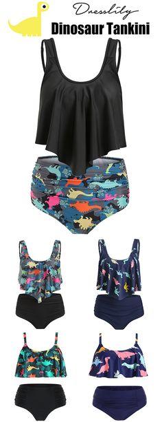 b704b1bea7b 46% OFF. Dinosaur Print Tankini Set.  dresslily  swimwear