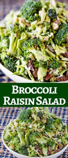 Broccoli Raisin Salad is the perfect summer salad for your barbecues, picnics and summer parties that even your kids will love! Easy Broccoli Salad - Dinner, then Dessert Mrs. Robinson drrewen Salate Broccoli Raisin Salad is the perfect summer sala Broccoli Salad With Raisins, Brocolli Salad, Easy Broccoli Salad, Broccoli Raisin Salad, Broccoli Recipes, Salads For Kids, Easy Summer Salads, Bbq Salads, Dinner Salads