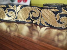 Black Gold pattern Paisley Brocade Border Pattern/Lace Jacquard Weaving Boarder/Lace. Lace has Paisley pattern design all over and Trim is approx 2 inches wide. . This stunning lace can be used for...