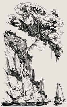 Ink Pen Art, Ink Pen Drawings, Realistic Drawings, Art Drawings Sketches, Abstract Sketches, Abstract Paintings, Landscape Pencil Drawings, Landscape Sketch, Landscape Drawing Tutorial