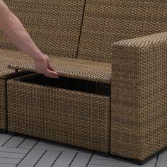 SOLLERÖN modular sofa, outdoor - brown with footstool brown, Hållö beige - IKEA Outdoor Seat Pads, Outdoor Cushion Covers, Outdoor Cushions, Sofa Area Externa, Ikea Bank, Modular Corner Sofa, Outdoor Stools, Outdoor Lounge, Modul Sofa