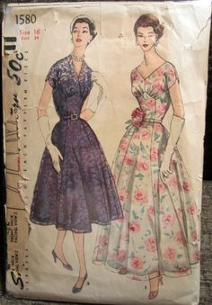 Vintage 1956 Simplicity Evening Ball Gown Prom Dress Pattern 2 Lengths Size 16