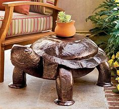 Hand-Hammered Iron Copper Turtle Table from Plow & Hearth on Catalog Spree Turtle Table, Turtle Homes, Tortoise Turtle, Tortoise Cage, Giant Tortoise, Reptiles, Lizards, Hearth, Outdoor Living