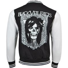 Black Veil Brides Gate Varsity Jacket (Black/White) (€54) ❤ liked on Polyvore featuring outerwear, jackets, bridal jacket, black jacket, bride jacket, black letterman jacket and black white letterman jacket