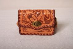 1960s Mexican Tooled Leather Handbag / Childs by ladyscarletts, $24.00