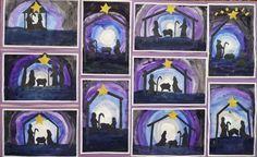 christmas art lessons | Nativity silhouettes | Christmas Art Lessons