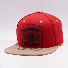 Shop Big Bear Exclusive Multi Bear California Republic Embroidery Red and Khaki Two Tone Snabpack Hats Caps Wholesale Online. Red and Khaki Premium Acrylic Fabric and Jack Daniels California Embroidery with Outline. Big Bear, Dad Hats, Snapback, Cap, Products, Baseball Hat, Snapback Hats, Beauty Products, Snapback Cap