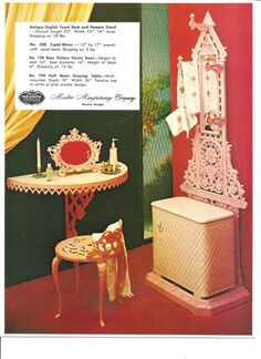 Retro Vanity Set Picture 1960s Moultrie Manufacturing Advertising Card for Cast Aluminum Furniture on Etsy, $4.99