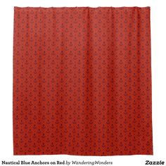 Nautical Blue Anchors on Red Shower Curtain