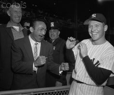 Carmen Basilio and Mickey Mantle Joking Around 1957