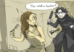 Just imagine Kylo Ren randomly popping up in Rey's daily life and try to convince her to be his padawan. by dc9spot