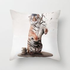 Tiger Throw Pillow by Elias Klingén - $20.00