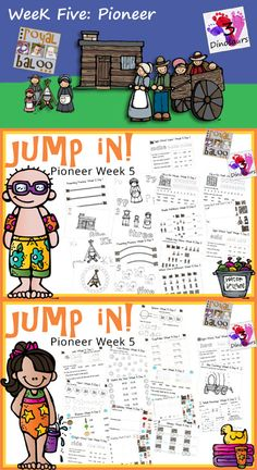 Jump In to Summer Learning Week 5 of 5 Pioneer Themed Printables for Tot, PreK, Kinder and First. Covering Letters, Shapes, Numbers, Math & Reading. 3Dinosaurs.com & RoyalBaloo.com