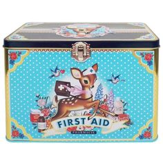 First Aid Tin Box from England by My Sweet Muffin #luvocracy #graphicdesign #firstaidkit #illustration #typography #packaging #deers #medicine