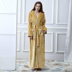 65db25707f Extreme Long Winter Women Bathrobe Warm Velvet Kimono Dressing Gown Hooded  Nightgown Sleepwear Peignoir Bridesmaid Bath