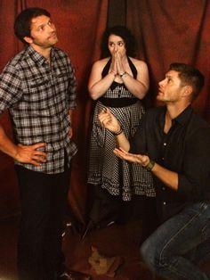 Misha Collins, Jensen Ackles, and Fan