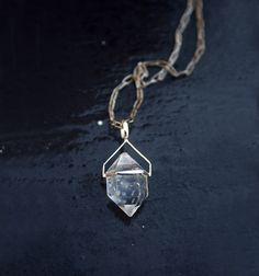 Items similar to Herkimer diamond necklace - Raw quartz crystal necklace with sterling silver chain & setting - Talisman on Etsy
