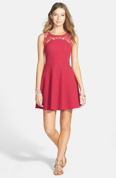 Lush Lace Yoke Textured Skater Dress (Juniors) available at #Nordstrom