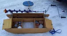 Let's see your ice fishing sleds! fishing stuff, fishing bait ideas, fishing love see your ice fishing sleds! Ice Fishing Sonar, Ice Fishing Sled, Ice Fishing Tips, Fishing Shack, Fishing Box, Fishing Lures, Fishing Stuff, Ice Shanty, Fly Rods