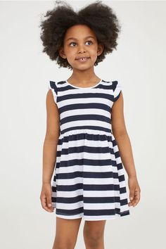 Dress in soft, organic cotton jersey with short butterfly sleeves. Elasticized seam at waist with decorative gathers. H&m Online, Flutter Sleeve, Blue Stripes, Organic Cotton, Fashion Online, Dark Blue, Kids Fashion, White Dress, Rompers