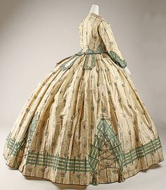 Dress 1862, French, Made of silk trim is different