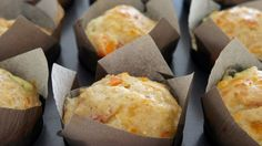 Muffins With Carrot, Squash, Cheese and Ham : Sons of Norway Veggie Recipes, Cooking Recipes, Norwegian Food, Scones, Tapas, Muffins, Brunch, Food And Drink, Cheese