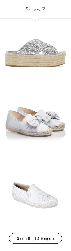 """""""Shoes 7"""" by rainylilies ❤ liked on Polyvore featuring shoes, sandals, silver, silver shoes, silver glitter shoes, braided sandals, silver platform shoes, glitter platform sandals, leather espadrille sandals and metallic leather sandals"""