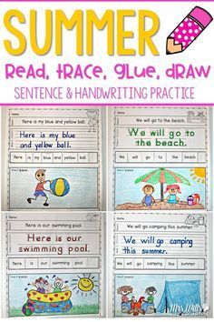Handwriting practice with a summer theme while your students write their high-frequency. Students will read, write, re-arrange, and illustrate sentences.  The rebus will help your most emergent reader feel successful. Two levels of this activity is included: Level one (10 pages)-students trace, Level two (10 pages)-students write.