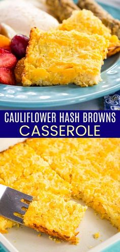 Baked Cauliflower Hash Browns Casserole - this cheesy vegetable side dish is made with only a few ingredients that the whole family will love! Quick and easy to make for brunch or dinner, or meal prep ahead of time. Made with plenty of cheddar cheese from the sponsor @cabotcheese, this gluten free recipe can also be made low carb. Gluten Free Recipes Side Dishes, Gluten Free Recipes For Breakfast, Veggie Side Dishes, Veggie Recipes, Keto Recipes, Free Breakfast, Ketogenic Recipes, Yummy Recipes, Healthy Recipes