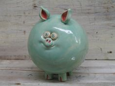 Piggy Bank  Mint green Handmade Pottery Pig   by Heidishoppe