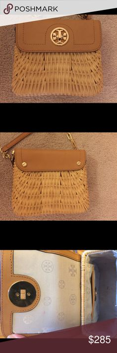 Tory Burch Rattan Mini Bag Lacquered rattan and tan leather. Tory Burch Bags Mini Bags