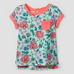 This Toddler Girls' T-Shirt - Aqua Float - from Cat & Jack is sure to become a fave. Featuring a fun and fresh floral print, this top gets a splash of color she'll love. Plus, it's guaranteed. Cat & Jack is made to last, but if anything doesn't, you can return it up to 1 year later with your receipt. Baby Girl Tops, Cute Baby Girl, Cute Babies, Baby Girls, Floral Tops, Floral Prints, Girls Joggers, Jogger Shorts, Tee Shirts