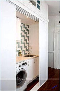 59 European Laundry Room That Always Look Awesome - Futurist. - 59 European Laundry Room That Always Look Awesome – Futuristic Interior Designs Technology Inspi - Laundry Cupboard, Laundry Closet, Laundry In Bathroom, Laundry Rooms, Bathroom Closet, Hidden Laundry, Small Laundry, Hidden Kitchen, Interior Design And Technology