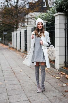 Stephanie Van Klev - Barts Beanie, Oui Coat, Vintage Bag, Dkny Pullover, Stuart Weitzman Over The Knee Boots - Hello Winter