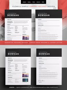 Essential Resume - Joseph - The design of this exclusive template has a career in mind but even if you're not looking for a job in that field and just prefer the layout, it can be easily edited to suit any position or industry. Cv Design, Resume Design, Design Layouts, Graphic Design, Print Design, Resume Cv, Resume Writing, Cv Template, Resume Templates