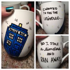 "Doctor Who Tardis Mug // ""I wanted to see the universe, so I stole a timelord and ran away."" // Hand Painted on Etsy, $17.22 AUD"