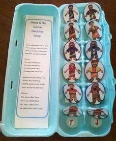 Los 12 discipulos de Jesus.- necesitas un carton de huevos, y figuras de los 12…