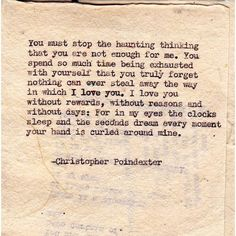 """""""Their tears were their love"""" series poem #14, by Christopher Poindexter."""