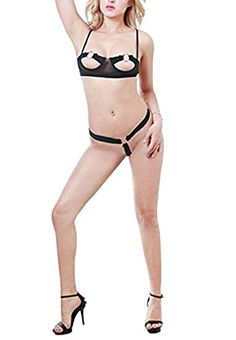 3a5e02d5598 KEBINAI Sexy Women Lingerie Open Bra Halter Steel Cups Underwire Cupless  Teddy Nightie Set with Gstring Medium as pictureMedium     Want additional  info