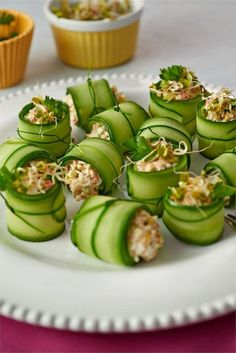 Snack Recipes, Healthy Recipes, Snacks, Vegan Cafe, Good Food, Yummy Food, Cucumber Recipes, Sushi, Love Eat